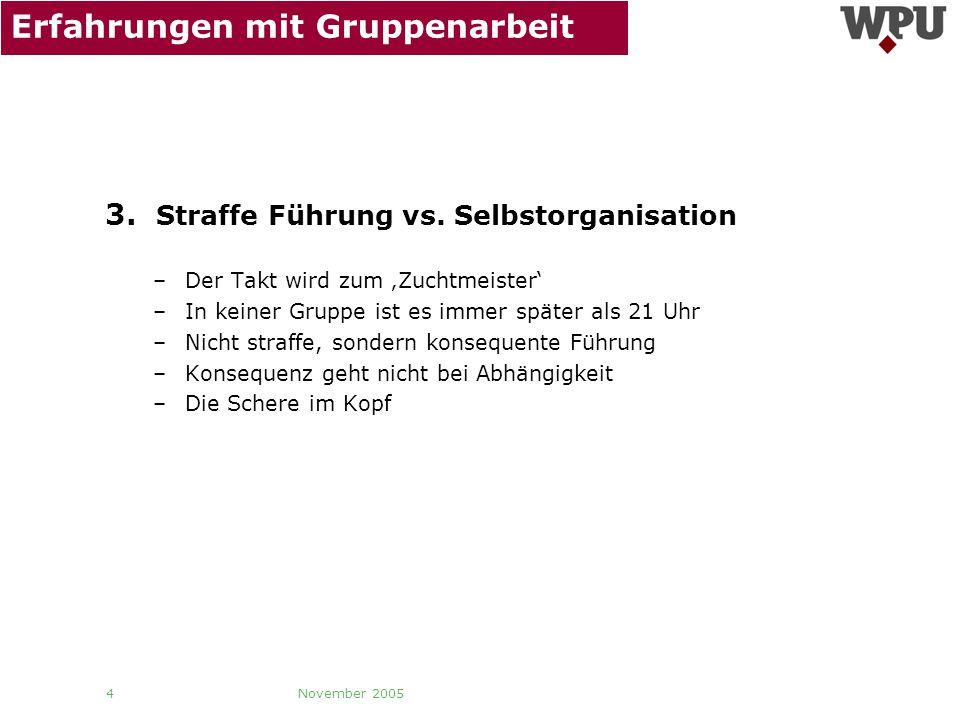 November 2005 5 Erfahrungen mit Gruppenarbeit 4.Gruppenegoismus vs.