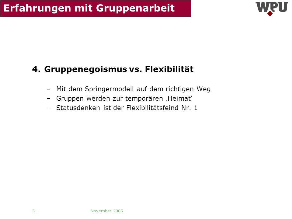 November 2005 5 Erfahrungen mit Gruppenarbeit 4. Gruppenegoismus vs. Flexibilität –Mit dem Springermodell auf dem richtigen Weg –Gruppen werden zur te