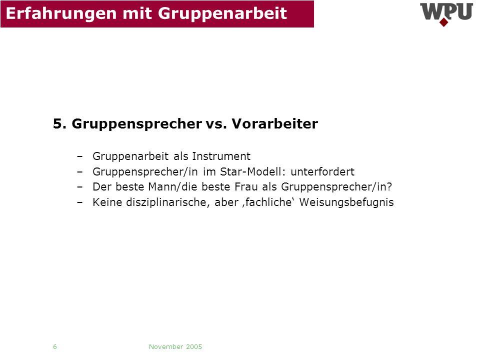 November 2005 6 Erfahrungen mit Gruppenarbeit 5. Gruppensprecher vs. Vorarbeiter –Gruppenarbeit als Instrument –Gruppensprecher/in im Star-Modell: unt