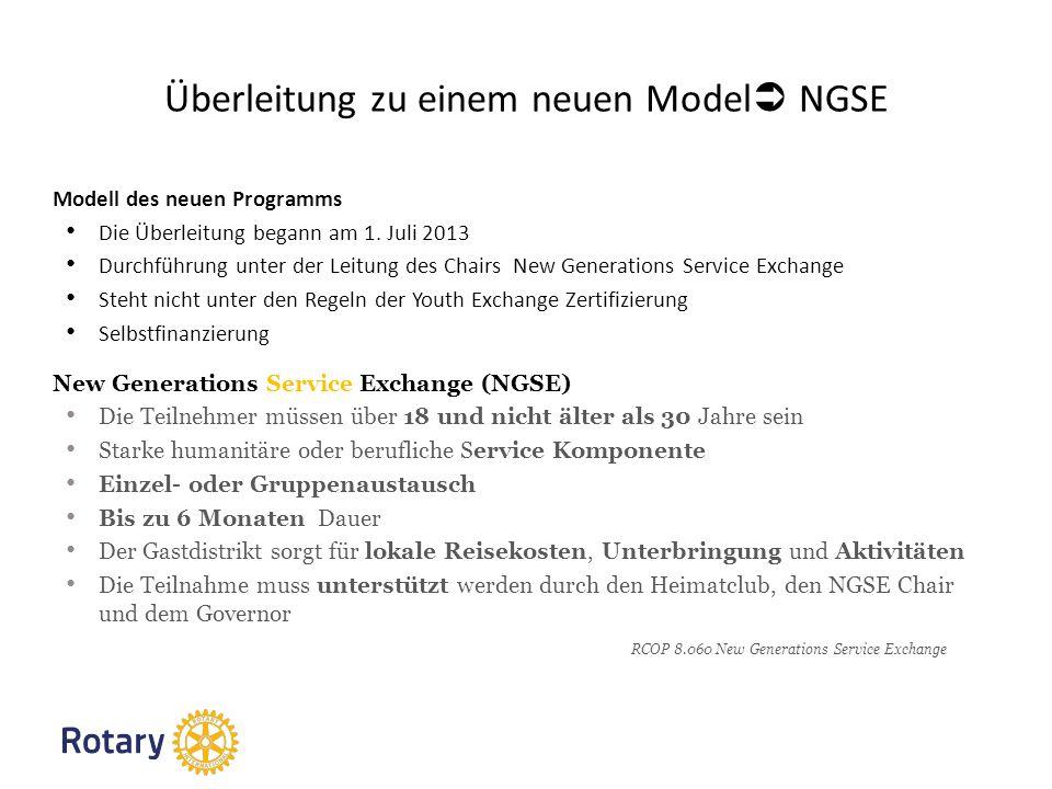 Überleitung zu einem neuen Model NGSE Modell des neuen Programms Die Überleitung begann am 1.