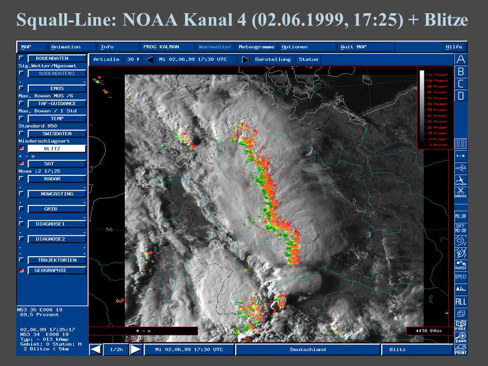 15 Squall-Line: NOAA Kanal 4 (02.06.1999, 17:25) + Blitze