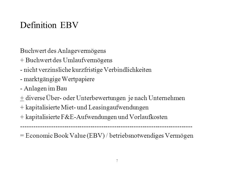 7 Definition EBV Buchwert des Anlagevermögens + Buchwert des Umlaufvermögens - nicht verzinsliche kurzfristige Verbindlichkeiten - marktgängige Wertpa