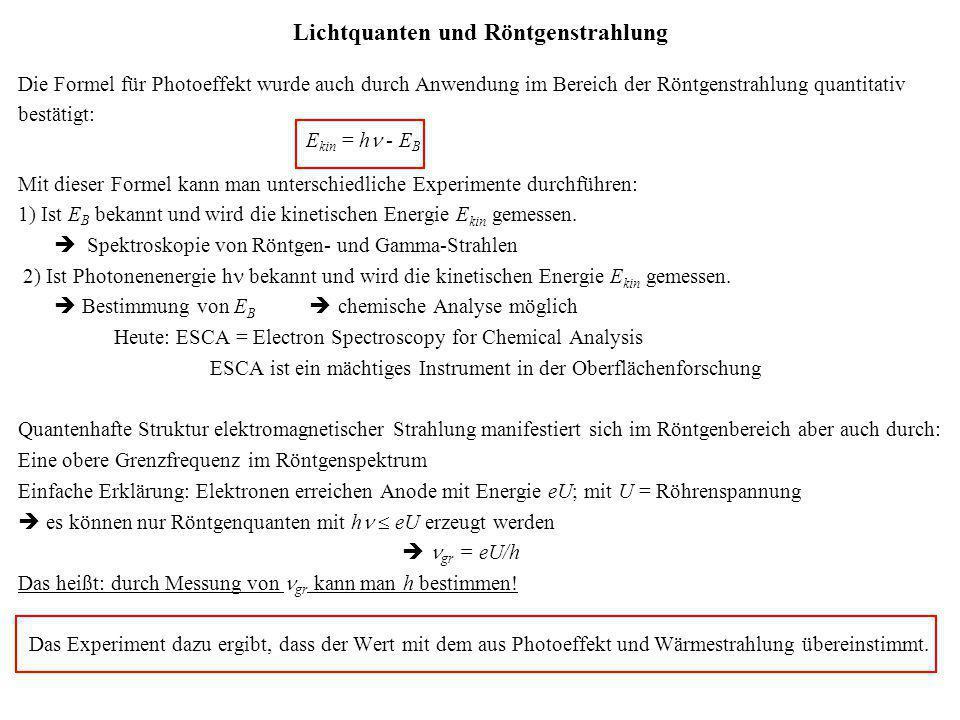 Lichtquanten und Röntgenstrahlung Die Formel für Photoeffekt wurde auch durch Anwendung im Bereich der Röntgenstrahlung quantitativ bestätigt: E kin =