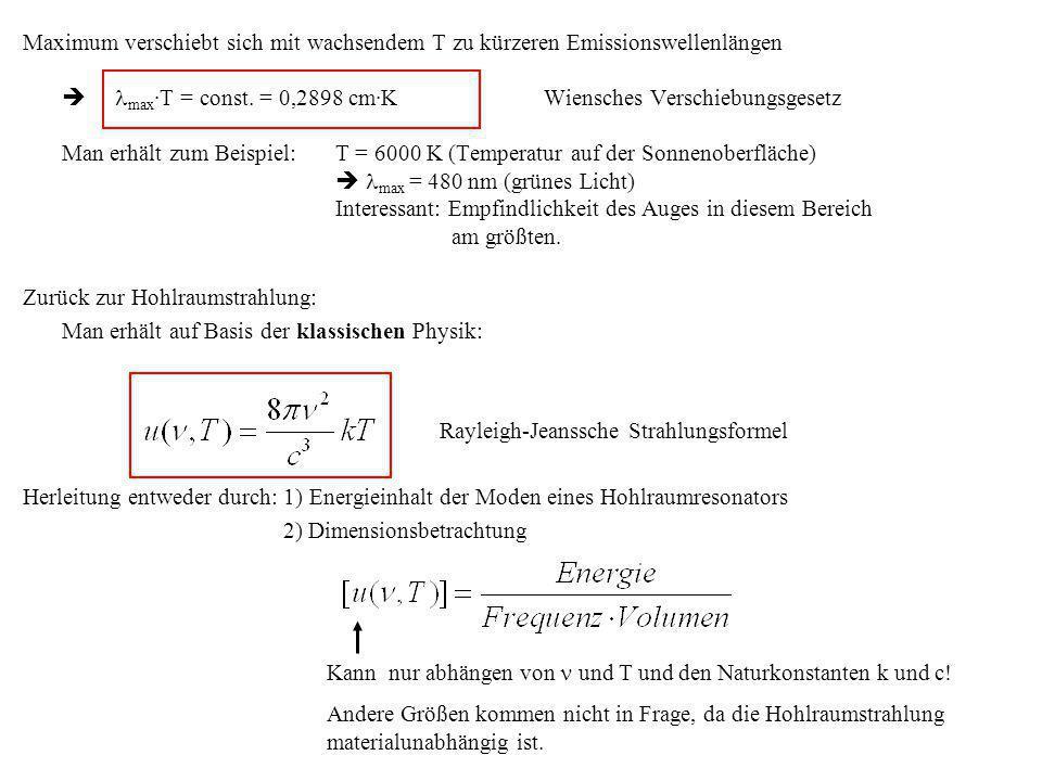 Maximum verschiebt sich mit wachsendem T zu kürzeren Emissionswellenlängen max ·T = const. = 0,2898 cm·K Wiensches Verschiebungsgesetz Man erhält zum