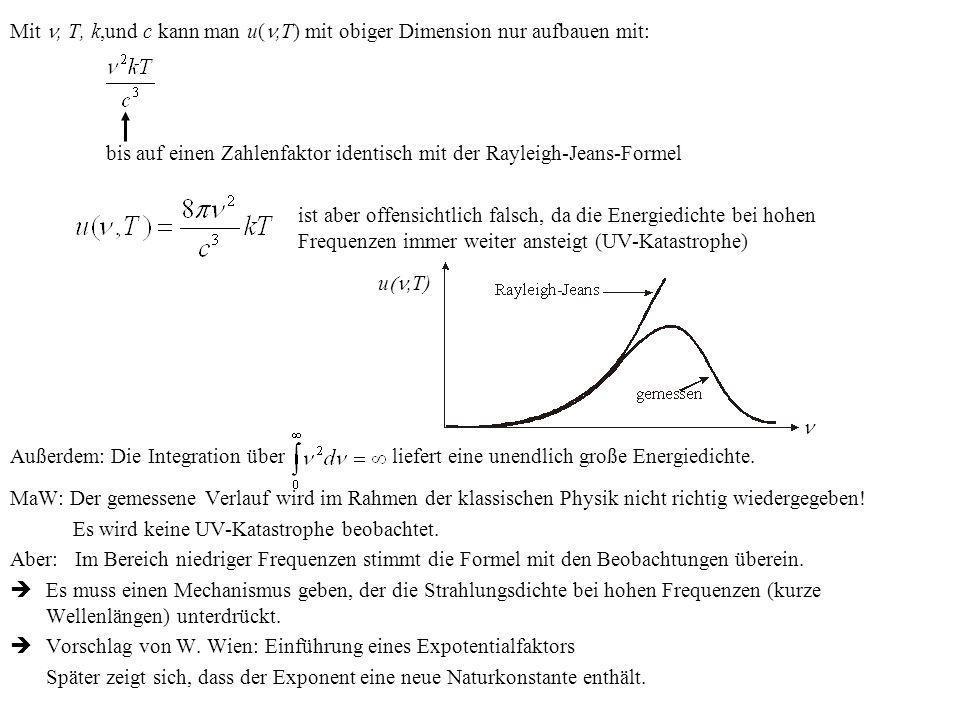 Mit, T, k,und c kann man u(,T) mit obiger Dimension nur aufbauen mit: bis auf einen Zahlenfaktor identisch mit der Rayleigh-Jeans-Formel ist aber offe