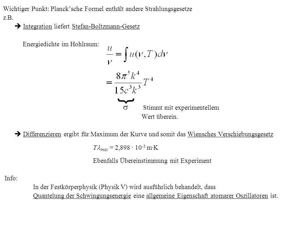 Wichtiger Punkt: Plancksche Formel enthält andere Strahlungsgesetze z.B. Integration liefert Stefan-Boltzmann-Gesetz Energiedichte im Hohlraum: Stimmt