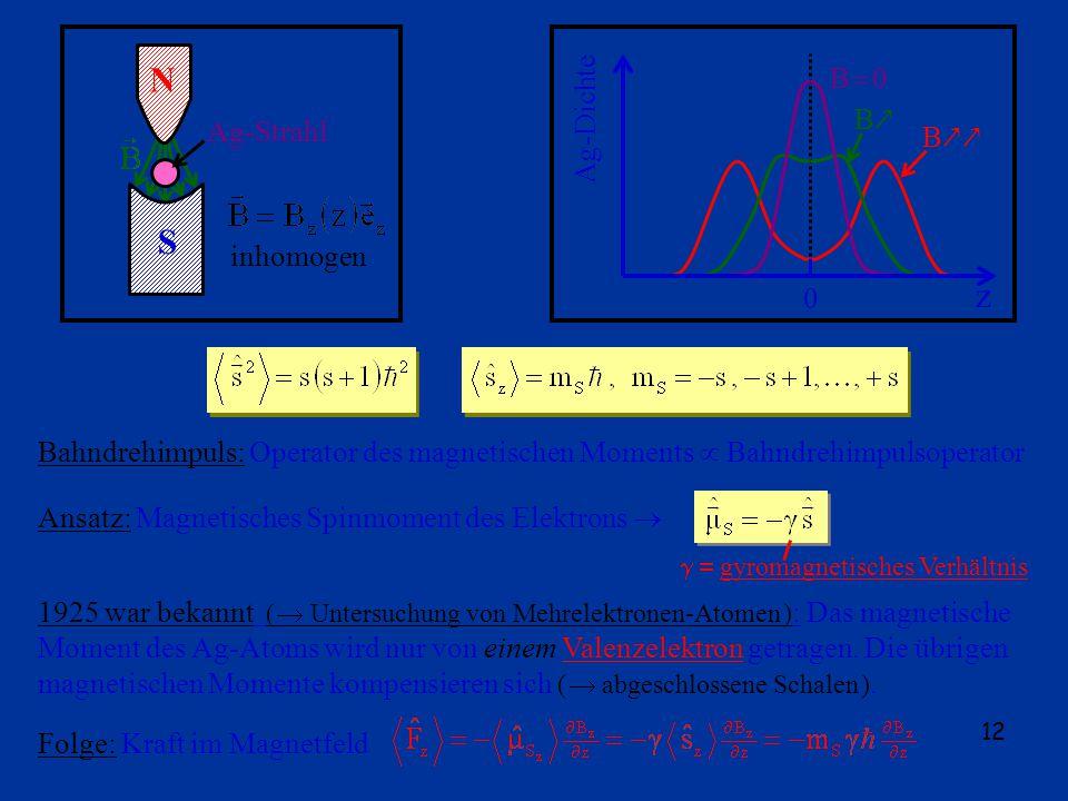 12 N S Ag-Strahl inhomogen z 0 Ag-Dichte B 0 B B Bahndrehimpuls: Operator des magnetischen Moments Bahndrehimpulsoperator Ansatz: Magnetisches Spinmoment des Elektrons gyromagnetisches Verhältnis 1925 war bekannt ( Untersuchung von Mehrelektronen-Atomen ) : Das magnetische Moment des Ag-Atoms wird nur von einem Valenzelektron getragen.
