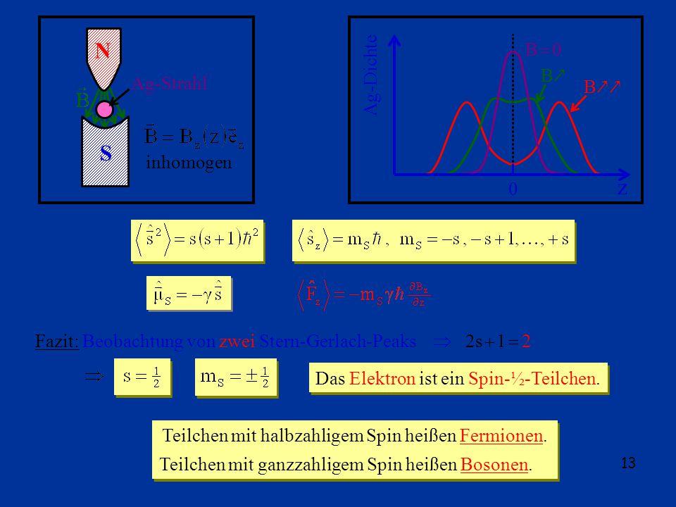 13 N S Ag-Strahl inhomogen z 0 Ag-Dichte B 0 B B Teilchen mit halbzahligem Spin heißen Fermionen.