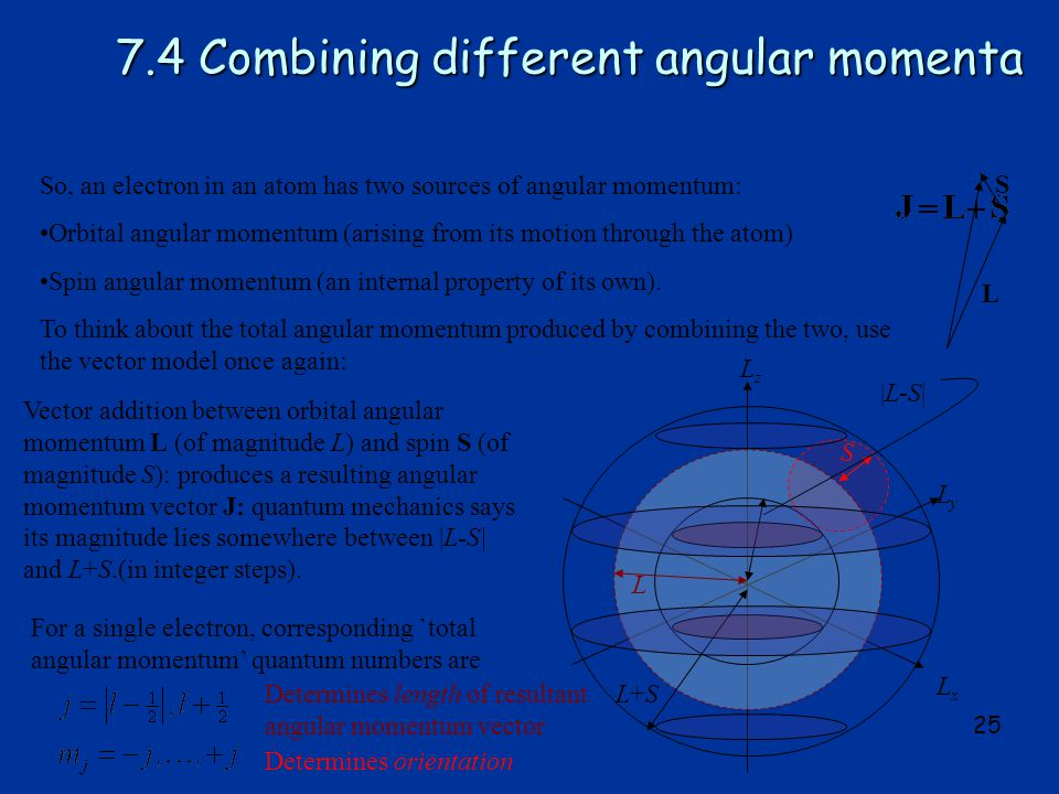 25 7.4 Combining different angular momenta So, an electron in an atom has two sources of angular momentum: Orbital angular momentum (arising from its motion through the atom) Spin angular momentum (an internal property of its own).