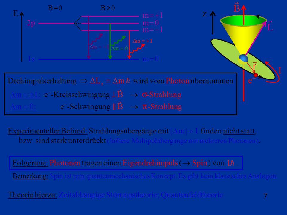 7 B 0 2p 1s m 0 m 1 E e I z Drehimpulserhaltung wird vom Photon übernommen m 1: e -Kreisschwingung -Strahlung m 0: e -Schwingung -Strahlung Experimenteller Befund: Strahlungsübergänge mit m 1 finden nicht statt, bzw.