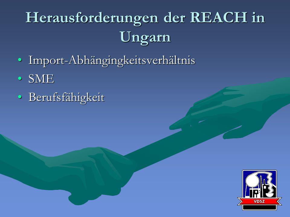 Herausforderungen der REACH in Ungarn Import-AbhängingkeitsverhältnisImport-Abhängingkeitsverhältnis SMESME BerufsfähigkeitBerufsfähigkeit