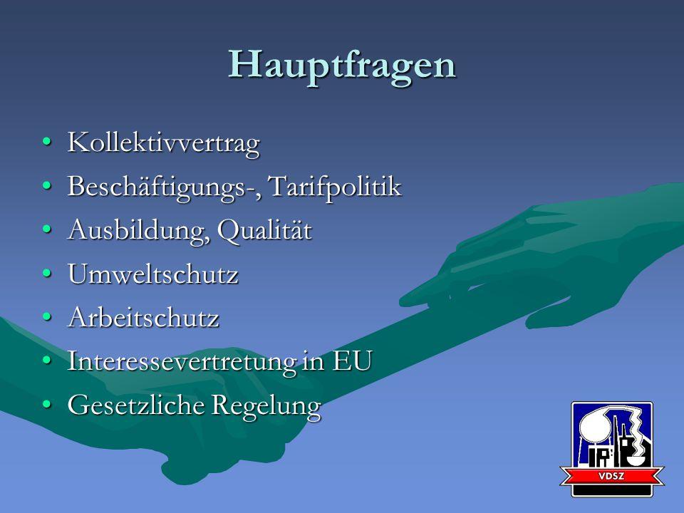 Hauptfragen KollektivvertragKollektivvertrag Beschäftigungs-, TarifpolitikBeschäftigungs-, Tarifpolitik Ausbildung, QualitätAusbildung, Qualität UmweltschutzUmweltschutz ArbeitschutzArbeitschutz Interessevertretung in EUInteressevertretung in EU Gesetzliche RegelungGesetzliche Regelung