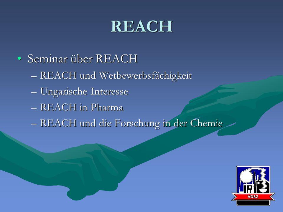 REACH Seminar über REACHSeminar über REACH –REACH und Wetbewerbsfächigkeit –Ungarische Interesse –REACH in Pharma –REACH und die Forschung in der Chemie
