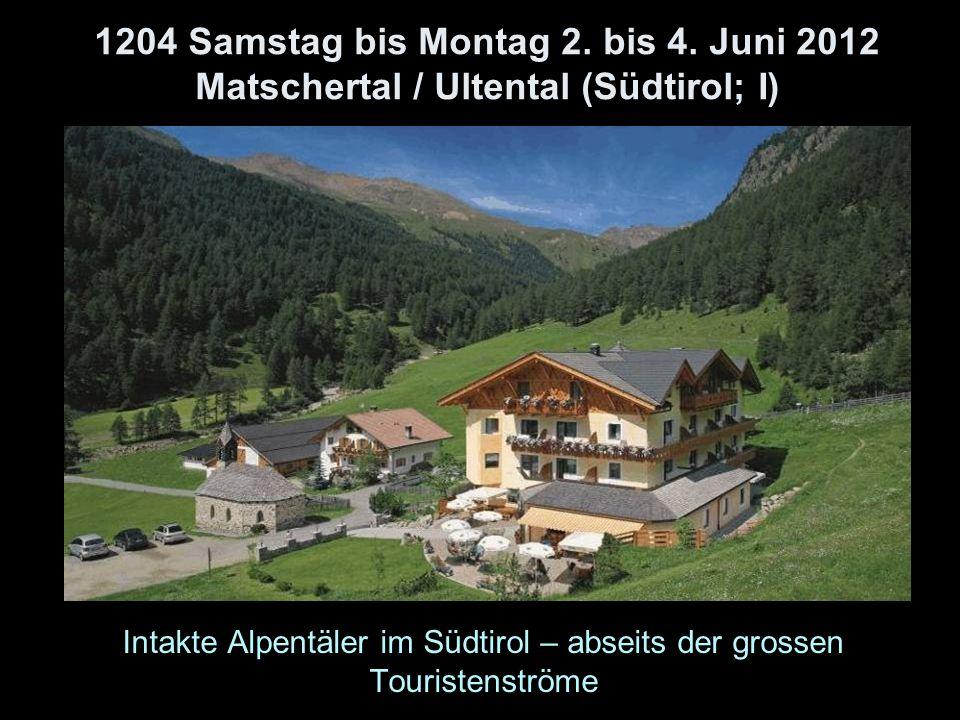 1204 Samstag bis Montag 2. bis 4. Juni 2012 Matschertal / Ultental (Südtirol; I) Intakte Alpentäler im Südtirol – abseits der grossen Touristenströme