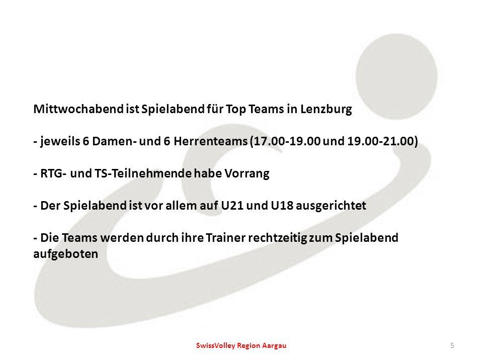 Mittwochabend ist Spielabend für Top Teams in Lenzburg - jeweils 6 Damen- und 6 Herrenteams (17.00-19.00 und 19.00-21.00) - RTG- und TS-Teilnehmende habe Vorrang - Der Spielabend ist vor allem auf U21 und U18 ausgerichtet - Die Teams werden durch ihre Trainer rechtzeitig zum Spielabend aufgeboten 5SwissVolley Region Aargau
