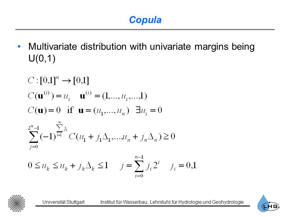 Universität StuttgartInstitut für Wasserbau, Lehrstuhl für Hydrologie und Geohydrologie Copula Multivariate distribution with univariate margins being U(0,1)