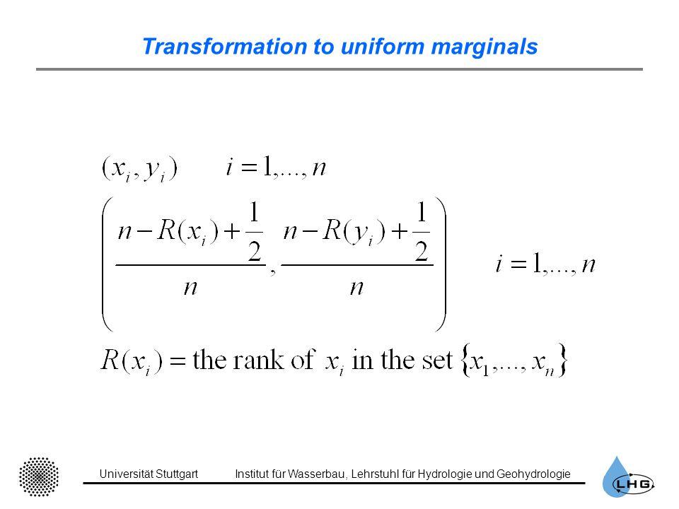 Universität StuttgartInstitut für Wasserbau, Lehrstuhl für Hydrologie und Geohydrologie Transformation to uniform marginals