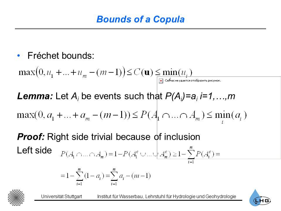 Universität StuttgartInstitut für Wasserbau, Lehrstuhl für Hydrologie und Geohydrologie Bounds of a Copula Fréchet bounds: Lemma: Let A i be events su