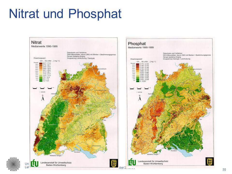 30 Caracas, September 28 2006 Universität Stuttgart Lehrstuhl für Hydrologie und Geohydrologie Nitrat und Phosphat