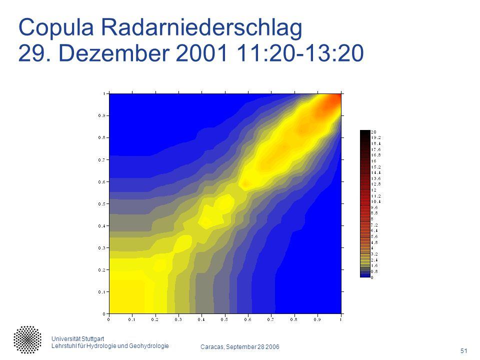 51 Caracas, September 28 2006 Universität Stuttgart Lehrstuhl für Hydrologie und Geohydrologie Copula Radarniederschlag 29. Dezember 2001 11:20-13:20