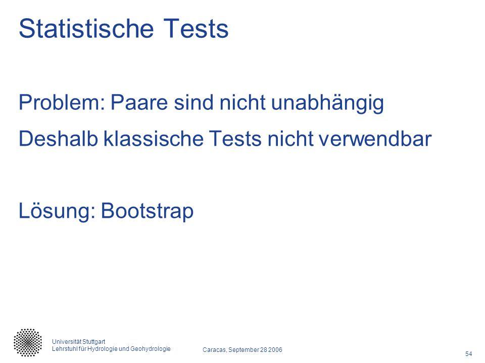 54 Caracas, September 28 2006 Universität Stuttgart Lehrstuhl für Hydrologie und Geohydrologie Statistische Tests Problem: Paare sind nicht unabhängig Deshalb klassische Tests nicht verwendbar Lösung: Bootstrap
