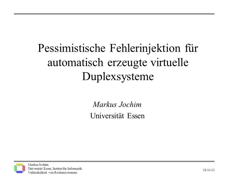 Markus Jochim Universität Essen, Institut für Informatik Verlässlichkeit von Rechensystemen 08.04.02 12 F-TypStandardPessimistisch 1 0,00% 0,81%1,51% 1,73% 1,97% 2 0,00% 0,83%1,74% 2,08% 2,48% 3 0,00% 2,69%4,34% 5,09% 5,93% 4 0,00% 2,69%1,94% 2,40% 2,94% 5 0,00% 0,81%0,61% 0,76% 0,92% 6 0,00% 2,28%3,42% 3,97% 4,58% F-TypStandardPessimistisch 1 0,00% 0,81%2,56% 2,84% 3,14% 2 0,00% 0,83%3,56% 4,23% 4,87% 3 0,00% 2,69%4,01% 4,85% 5,81% 4 0,00% 2,69%1,84% 2,29% 2,82% 5 0,00% 0,81%0,56% 0,69% 0,85% 6 0,00% 2,28%7,87% 8,77% 9,74% VDS: CRCVDS: Hanoi Ergebnisse (relativ) P exp : 1,73% (= Anteil nicht aufgedeckter Fehler) Legende: 1,51% 1,73% 1,97% P min : 1,51% P max : 1,97% Falls P real = 1,51% oder weniger: P (P exp = 1,73%) 5%