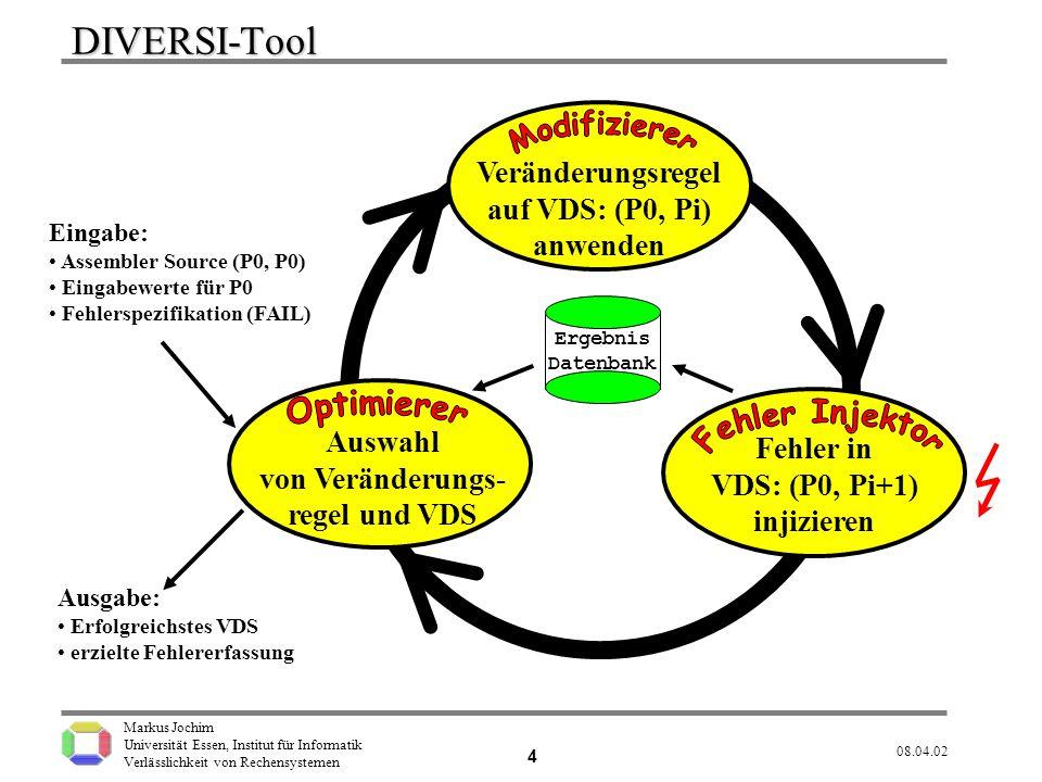 Markus Jochim Universität Essen, Institut für Informatik Verlässlichkeit von Rechensystemen 08.04.02 5 Fehlerinjektion Führe für jedes erzeugte VDS alle Injektions- Experimente für alle Eingabewerte aus.