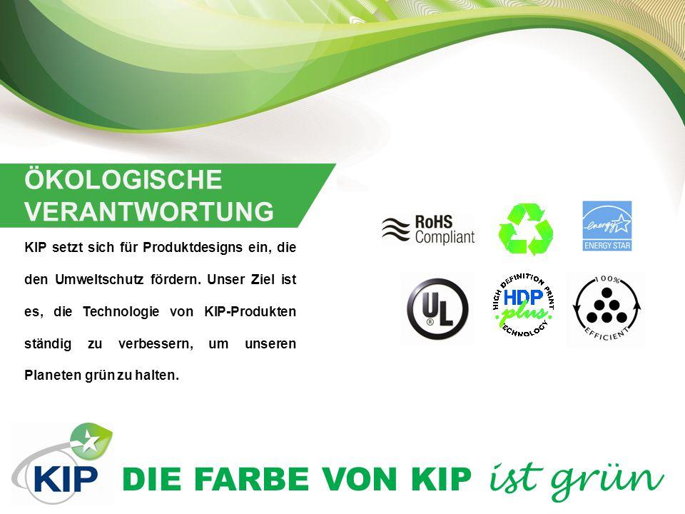 DIE FARBE VON KIP ist grün KIP ENTWICKLUNG UND PRODUKTION Alle KIP Systeme werden mit dem Ziel entwickelt und hergestellt, Umwelteinwirkungen während des gesamten Lebenszyklus der Produkte immer weiter zu reduzieren.