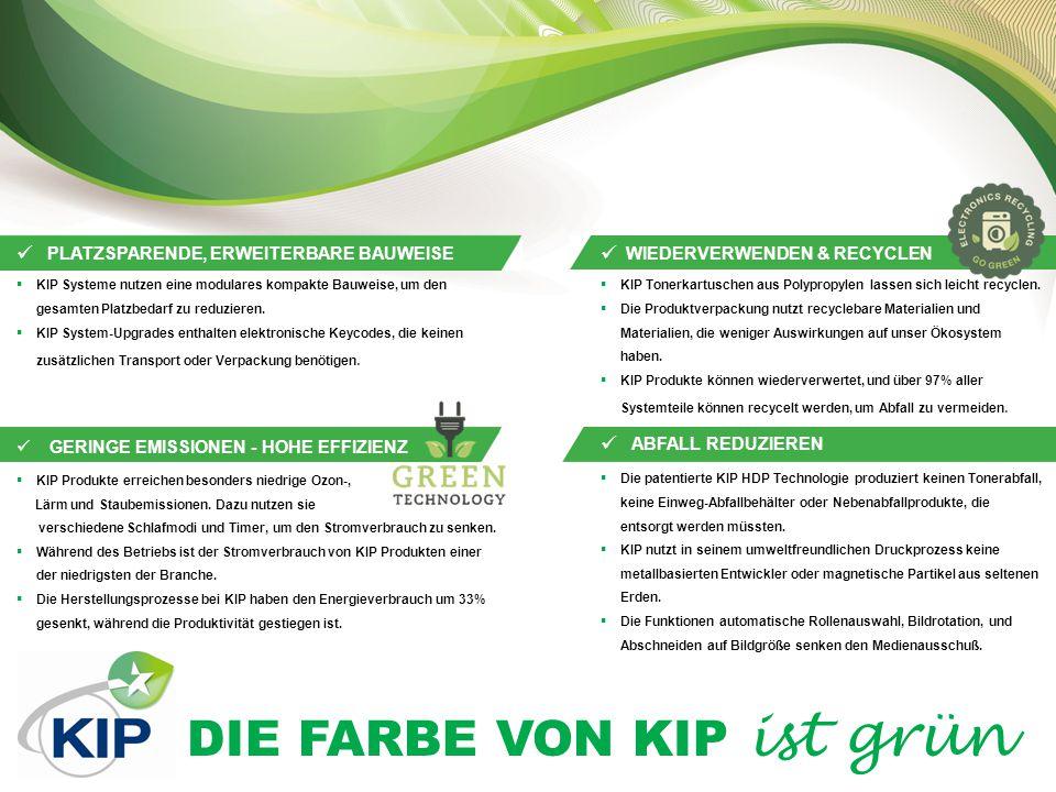 DIE FARBE VON KIP ist grün HIGH DEFINITION PRINT (HDP) TECHNOLOGIE 100% TONERNUTZUNG KIP Schwarz & Weiß-Systeme nutzen den Toner zu100%.