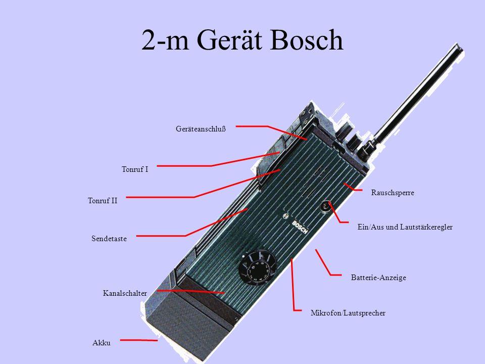 2-m Gerät Bosch Akku Kanalschalter Sendetaste Tonruf I Tonruf II Ein/Aus und Lautstärkeregler Rauschsperre Batterie-Anzeige Mikrofon/Lautsprecher Gerä