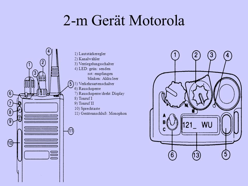 2-m Gerät Motorola 1) Lautstärkeregler 2) Kanalwähler 3) Verriegelungsschalter 4) LED: grün: senden rot: empfangen blinken: Akku leer 5) Verkehrsarten