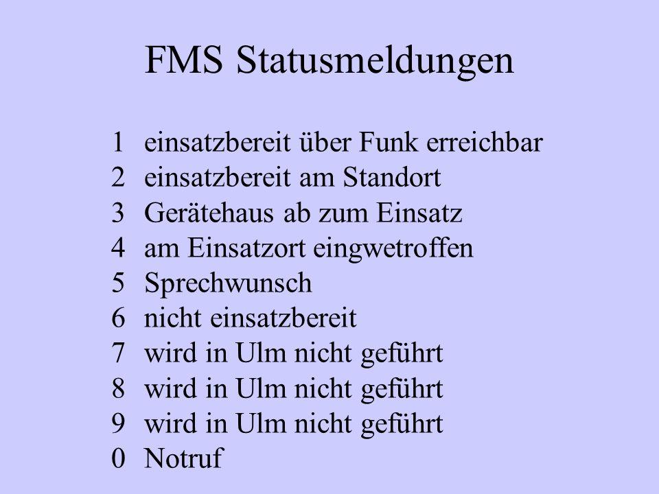 FMS Statusmeldungen 1einsatzbereit über Funk erreichbar 2einsatzbereit am Standort 3Gerätehaus ab zum Einsatz 4am Einsatzort eingwetroffen 5Sprechwuns