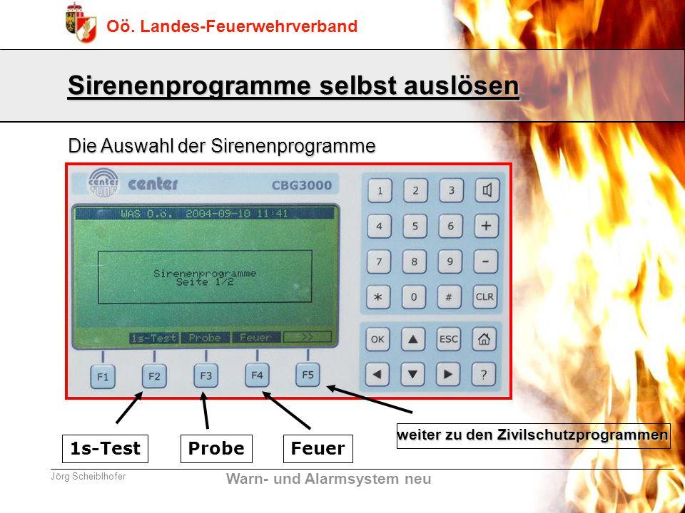 Warn- und Alarmsystem neu Oö. Landes-Feuerwehrverband Jörg Scheiblhofer Sirenenprogramme selbst auslösen Die Auswahl der Sirenenprogramme 1s-TestProbe