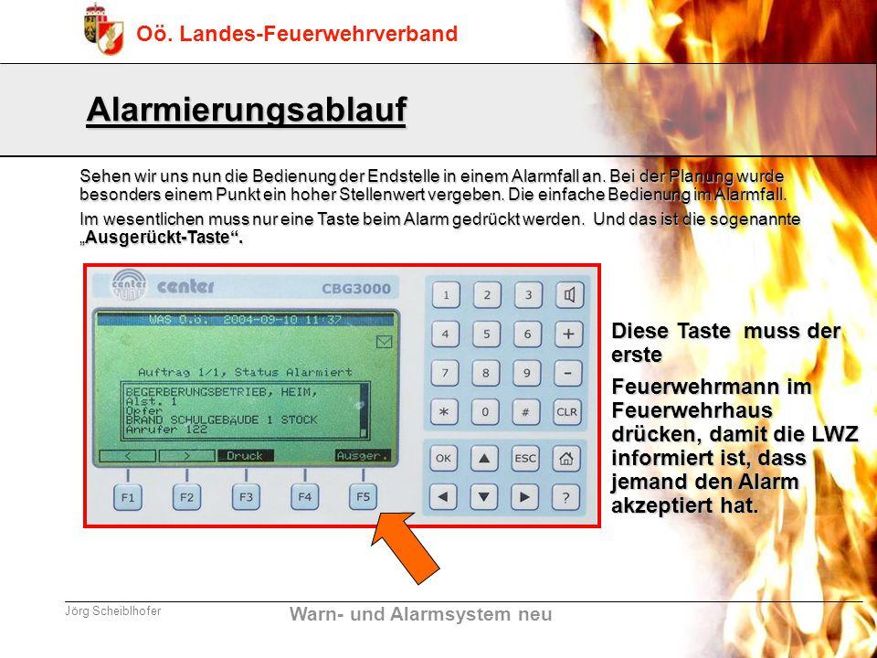 Warn- und Alarmsystem neu Oö. Landes-Feuerwehrverband Jörg Scheiblhofer Alarmierungsablauf Sehen wir uns nun die Bedienung der Endstelle in einem Alar