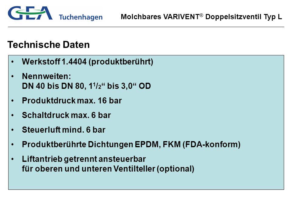 Molchbares VARIVENT ® Doppelsitzventil Typ L Technische Daten Werkstoff 1.4404 (produktberührt) Nennweiten: DN 40 bis DN 80, 1 1 / 2 bis 3,0 OD Produk