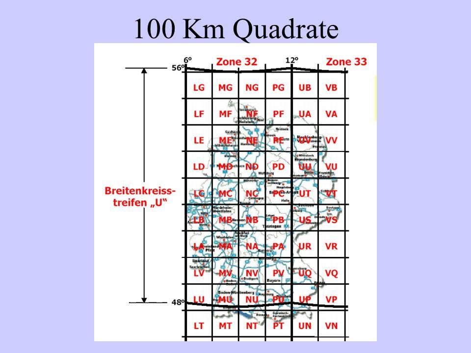 100km Die Durchsage der Koordinaten erfolgt nach einem bestimmten System.