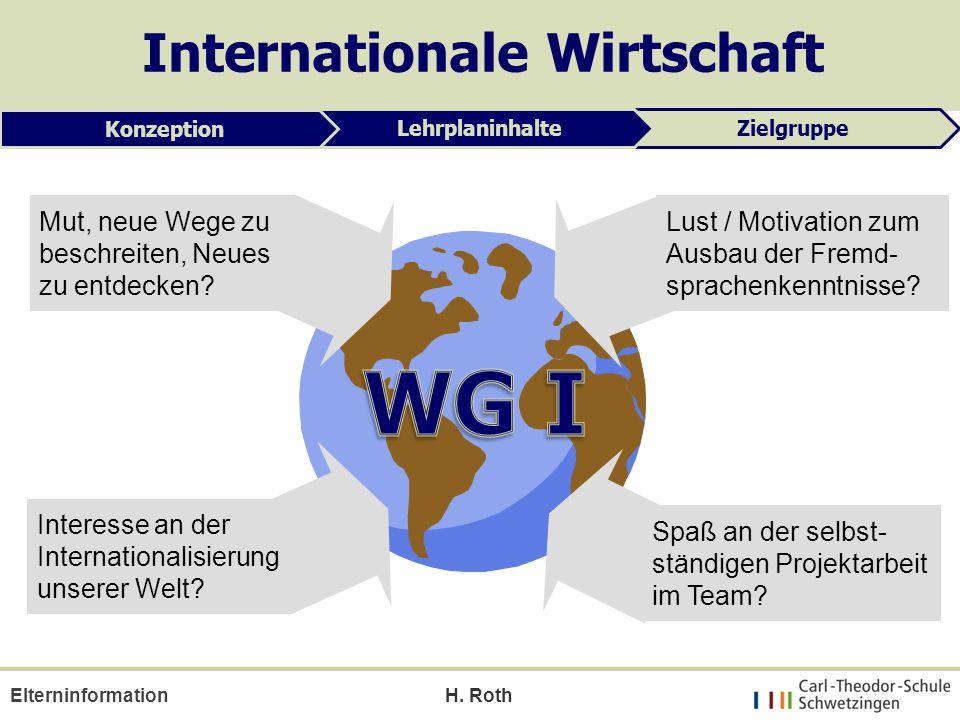 H. Roth Mut, neue Wege zu beschreiten, Neues zu entdecken? Interesse an der Internationalisierung unserer Welt? Lust / Motivation zum Ausbau der Fremd