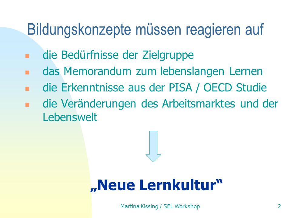 Martina Kissing / SEL Workshop2 die Bedürfnisse der Zielgruppe das Memorandum zum lebenslangen Lernen die Erkenntnisse aus der PISA / OECD Studie die