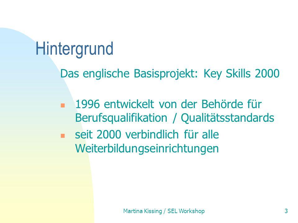 Martina Kissing / SEL Workshop3 Hintergrund Das englische Basisprojekt: Key Skills 2000 1996 entwickelt von der Behörde für Berufsqualifikation / Qual