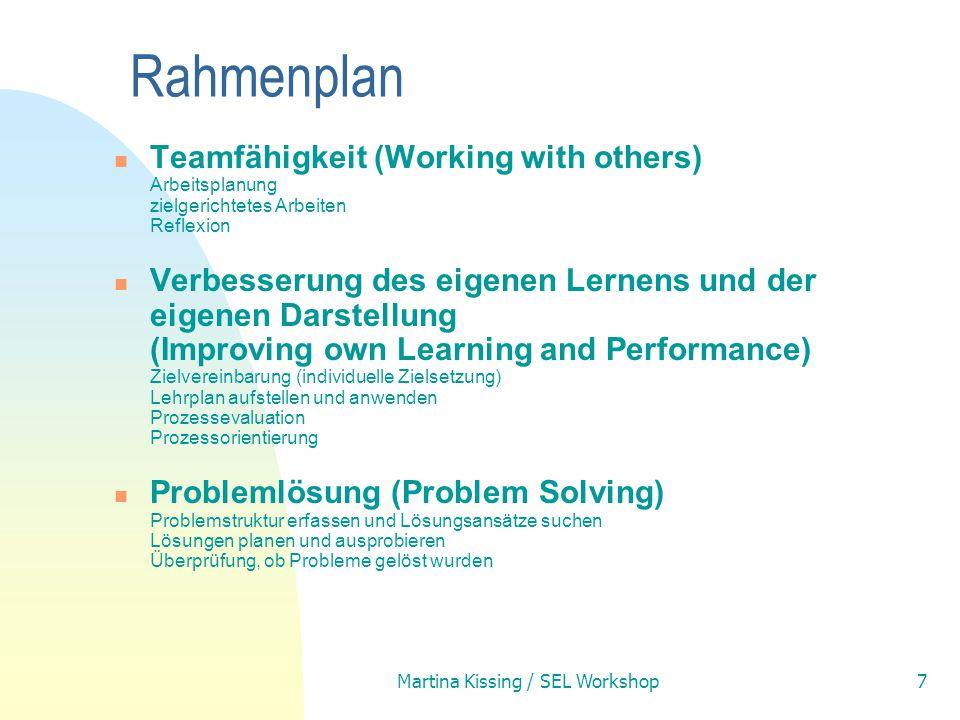 Martina Kissing / SEL Workshop7 Rahmenplan Teamfähigkeit (Working with others) Arbeitsplanung zielgerichtetes Arbeiten Reflexion Verbesserung des eige