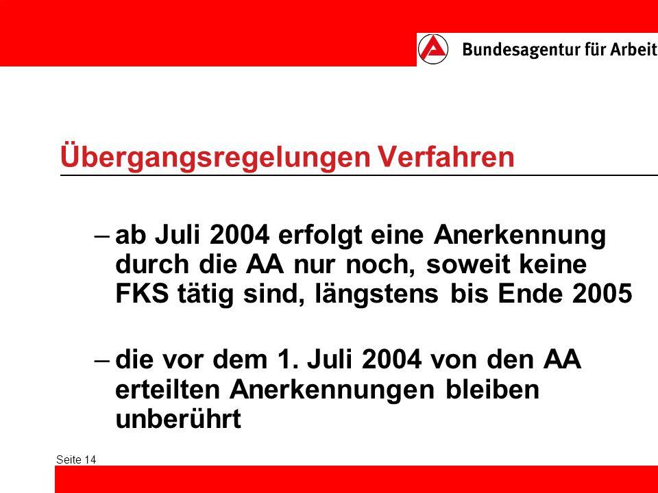 Seite 14 Übergangsregelungen Verfahren –ab Juli 2004 erfolgt eine Anerkennung durch die AA nur noch, soweit keine FKS tätig sind, längstens bis Ende 2