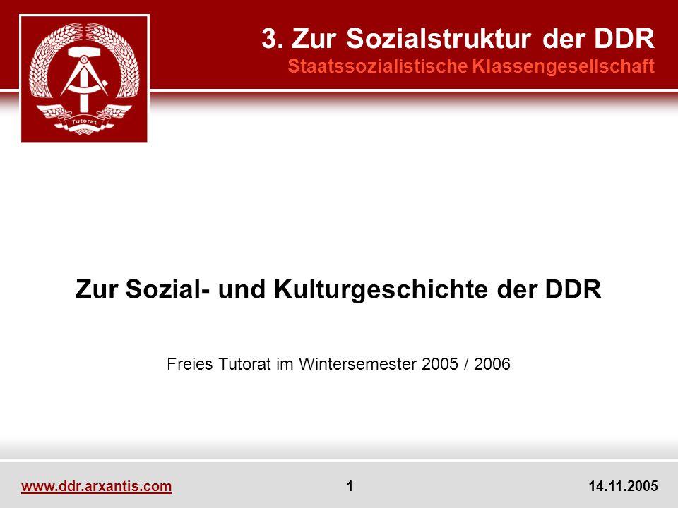 www.ddr.arxantis.com 1 14.11.2005 Zur Sozial- und Kulturgeschichte der DDR Freies Tutorat im Wintersemester 2005 / 2006 3. Zur Sozialstruktur der DDR