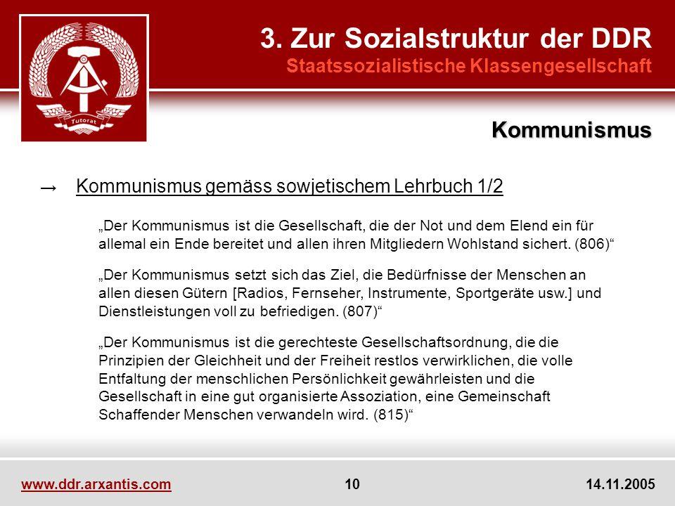 www.ddr.arxantis.com 10 14.11.2005 3. Zur Sozialstruktur der DDR Staatssozialistische Klassengesellschaft Kommunismus gemäss sowjetischem Lehrbuch 1/2