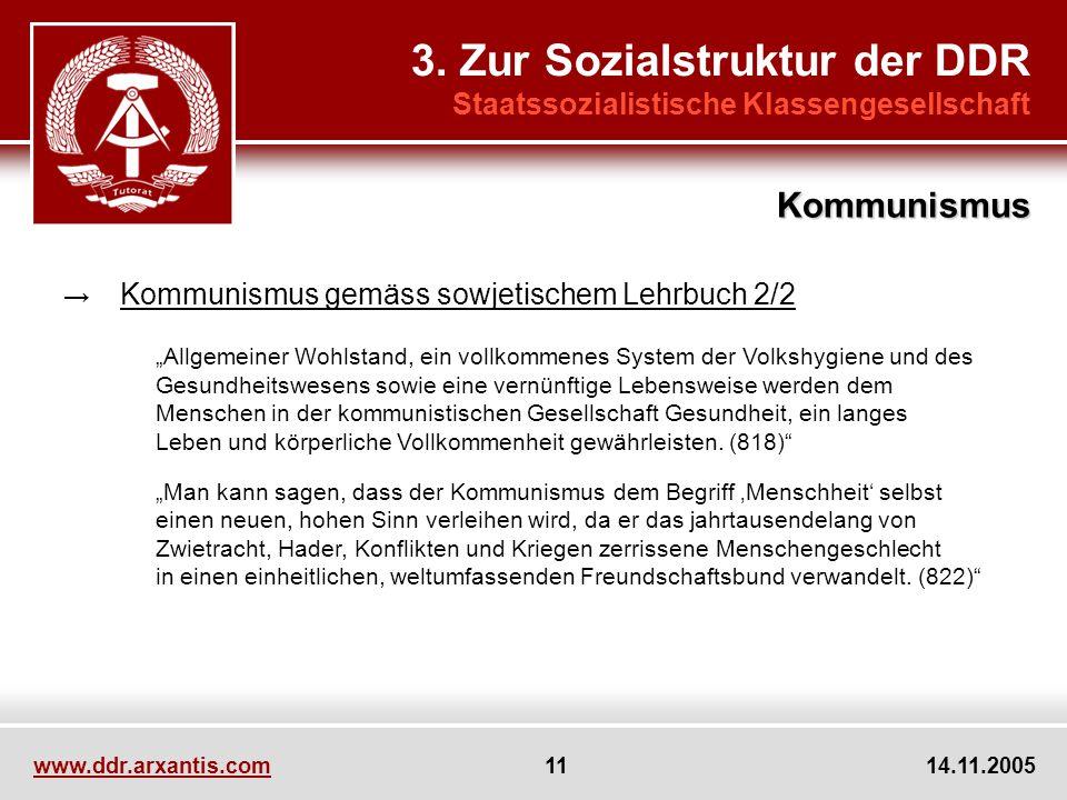 www.ddr.arxantis.com 11 14.11.2005 3. Zur Sozialstruktur der DDR Staatssozialistische Klassengesellschaft Kommunismus gemäss sowjetischem Lehrbuch 2/2