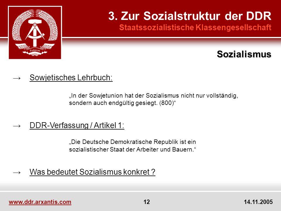 www.ddr.arxantis.com 12 14.11.2005 3. Zur Sozialstruktur der DDR Staatssozialistische Klassengesellschaft Sowjetisches Lehrbuch: In der Sowjetunion ha