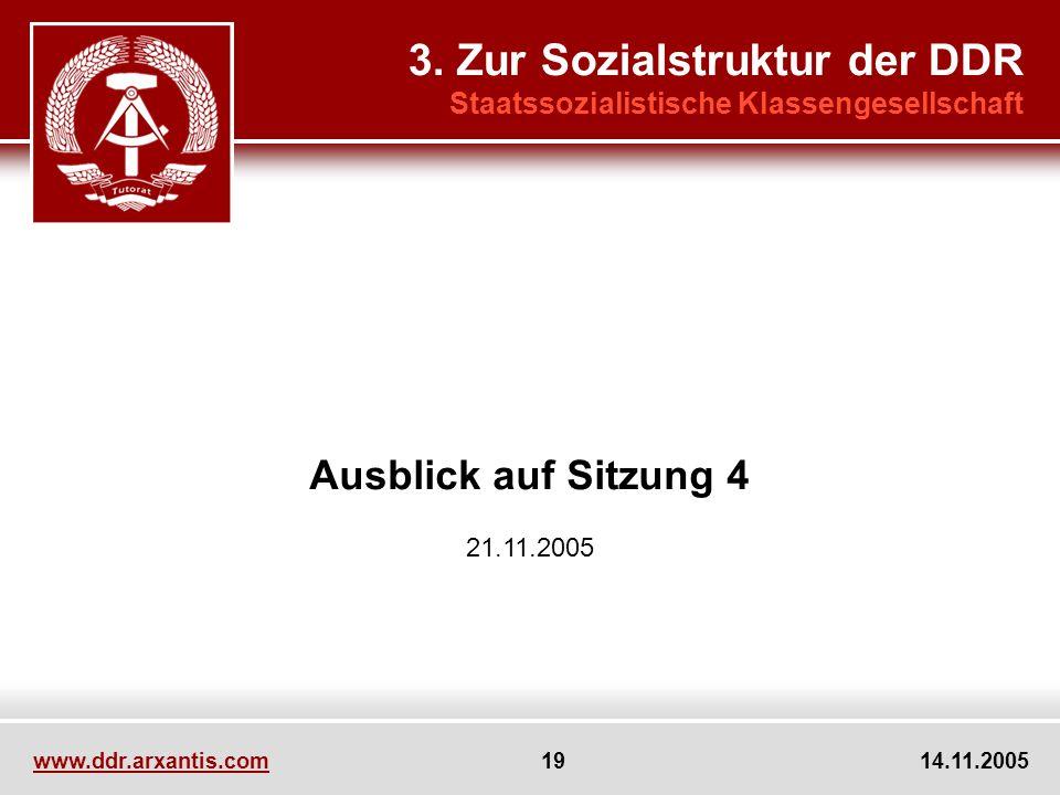 www.ddr.arxantis.com 19 14.11.2005 Ausblick auf Sitzung 4 21.11.2005 3. Zur Sozialstruktur der DDR Staatssozialistische Klassengesellschaft