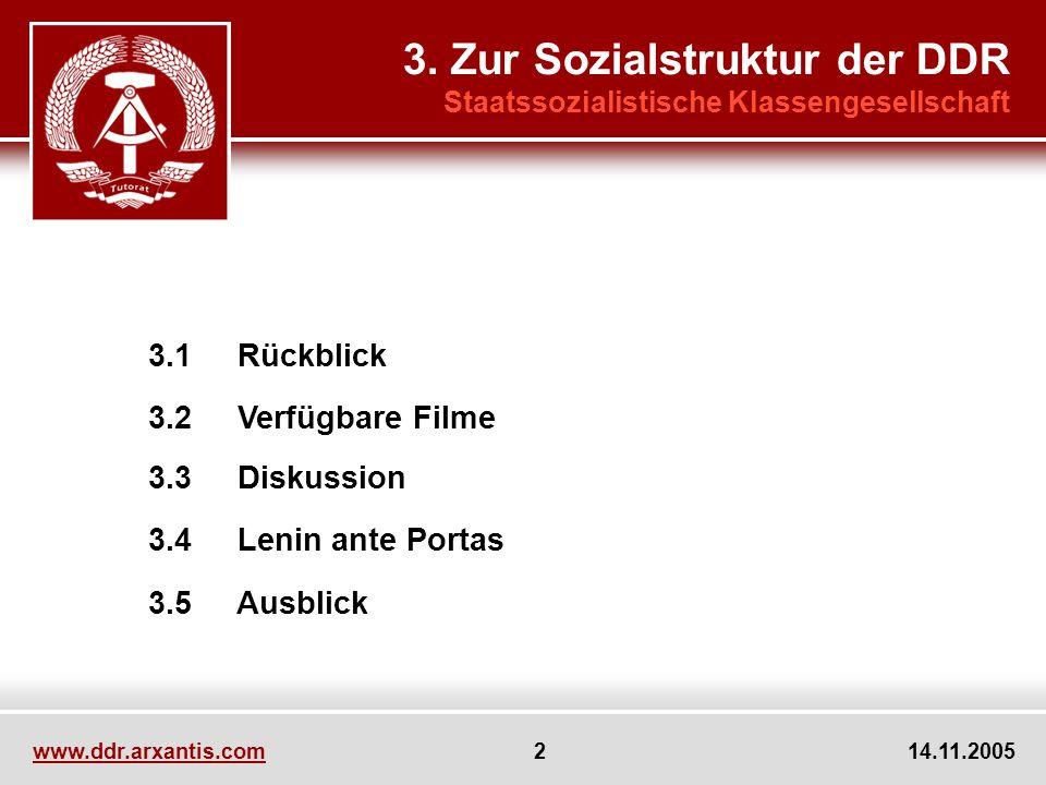 www.ddr.arxantis.com 2 14.11.2005 3.1 Rückblick 3.2 Verfügbare Filme 3.3 Diskussion 3.4 Lenin ante Portas 3.5 Ausblick 3. Zur Sozialstruktur der DDR S