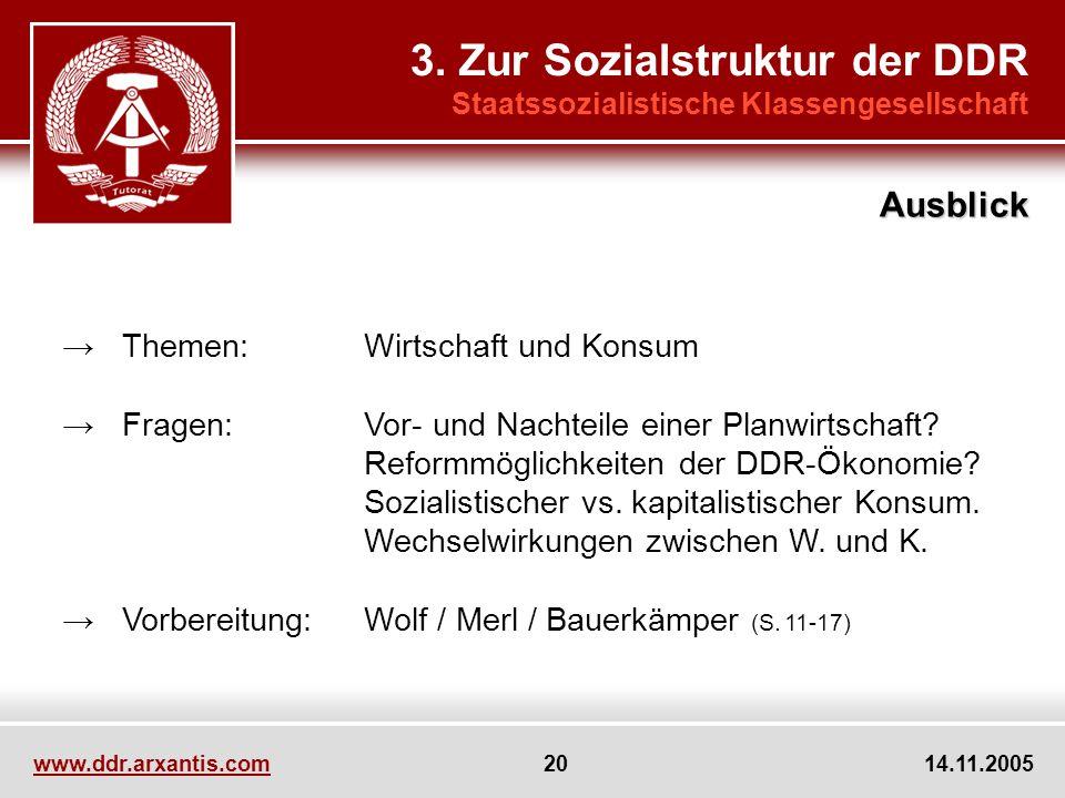 www.ddr.arxantis.com 20 14.11.2005 Themen:Wirtschaft und Konsum Fragen:Vor- und Nachteile einer Planwirtschaft? Reformmöglichkeiten der DDR-Ökonomie?