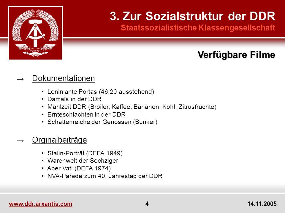 www.ddr.arxantis.com 4 14.11.2005 3. Zur Sozialstruktur der DDR Staatssozialistische Klassengesellschaft Verfügbare Filme Dokumentationen Lenin ante P