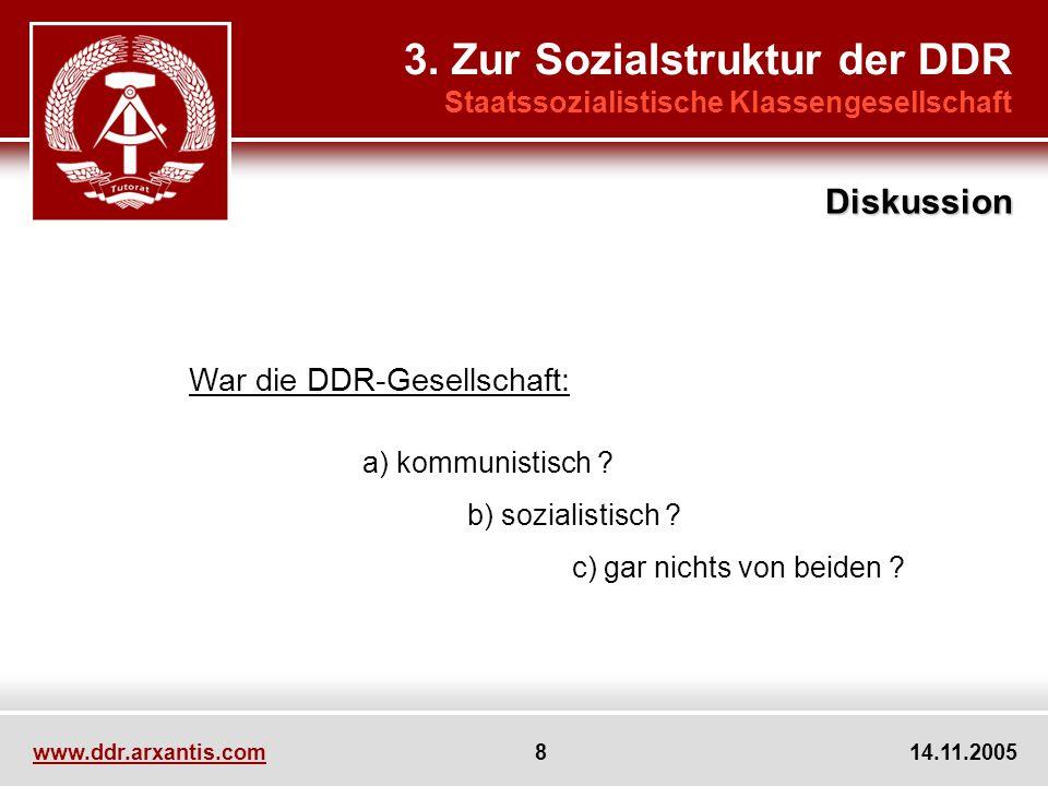 www.ddr.arxantis.com 8 14.11.2005 3. Zur Sozialstruktur der DDR Staatssozialistische Klassengesellschaft War die DDR-Gesellschaft: a) kommunistisch ?